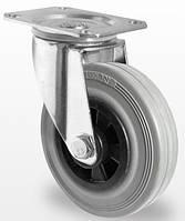 Поворотное колесо диаметром 100 мм из серой резины