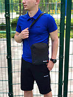Комплект футболка поло синя + чорні шорти Reebok, чоловічий літній