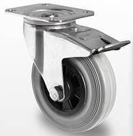 Поворотное колесо с тормозом диаметром 100 мм из серой резины