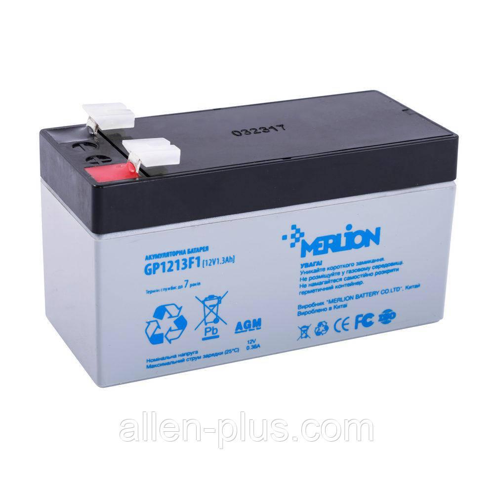 Аккумулятор свинцово-кислотный Merlion GP1213F1, 12V / 1.3A