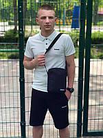 Комплект футболка поло белая + шорты черные Reebok, мужской летний