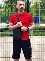 Комплект футболка поло красная + шорты черные Reebok, мужской летний