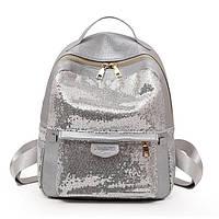Рюкзак женский из экокожи c пайетками (серебристый), фото 1