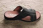 Кожаные шлепанцы кожаные Clarks темно-синего цвета, фото 2