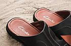 Кожаные шлепанцы кожаные Clarks темно-синего цвета, фото 6