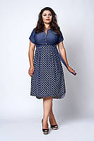 Джинсовое женское платье с поясом размер 50,54,56