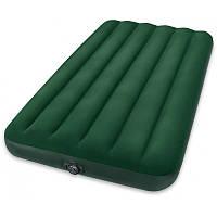 Кровать надувная велюровая  Intex 66969  + Насос (аккумуляторные батареи), 152*203*22см