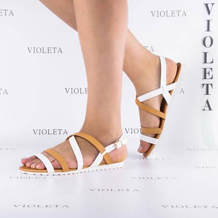 Супер цена! 39 размер Кожаные (экокожа) босоножки сандалии пр.Турция (бежевые и белые переплеты), фото 2