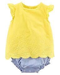 Поплиновый желтый летний  бодик с прошвой (Размер 9мес) Carters (США)