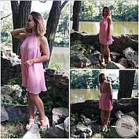 Платье летнее с открытой спиной и плиссировкой