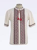 Мужская вязаная вышиванка с коротким рукавом Тарас черно-красный | Чоловіча в'язана вишиванка Тарас чорно-черв
