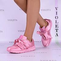 38, 41рр Женские розовые (пудровые) атласные кроссовки (слипоны) с  бантами