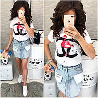 Женская модная джинсовая юбка со вставками