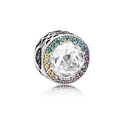 Серебряный шарм «Разноцветное сердце» в стиле Pandora