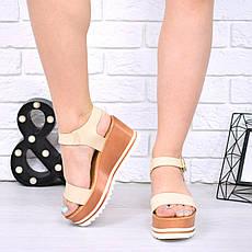 """Босоножки, сандалии, сабо, балетки бежевые """"Grand"""" эко кожа, на платформе, повседневная, летняя женская обувь, фото 3"""