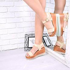 """Босоножки, сандалии, сабо, балетки бежевые """"Grand"""" эко кожа, на платформе, повседневная, летняя женская обувь, фото 2"""