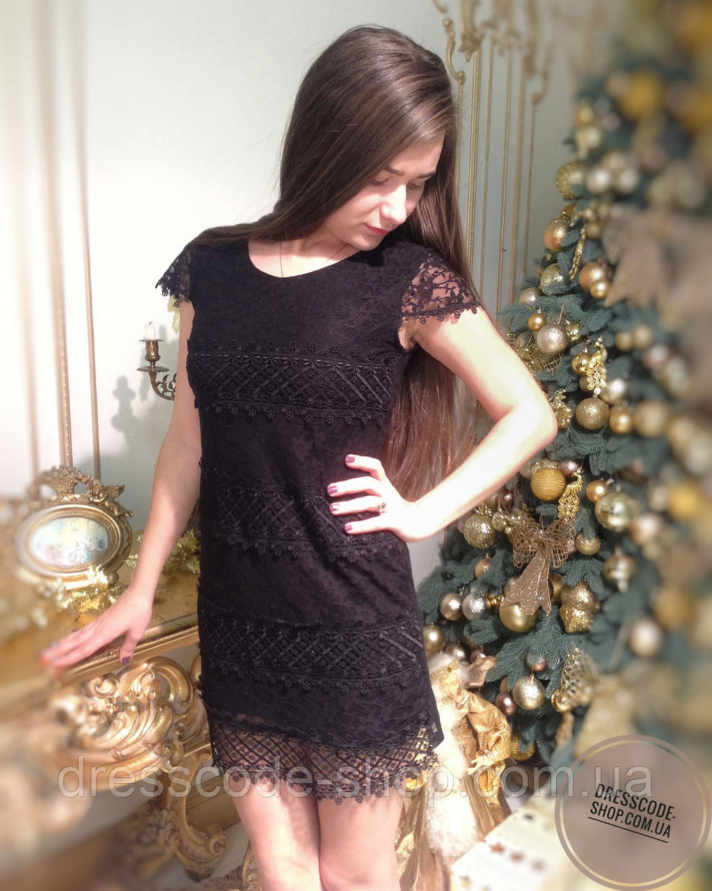 aa0f2ebc7c4f2f8 Платье Черное с Кружевом с Коротким Рукавом — в Категории