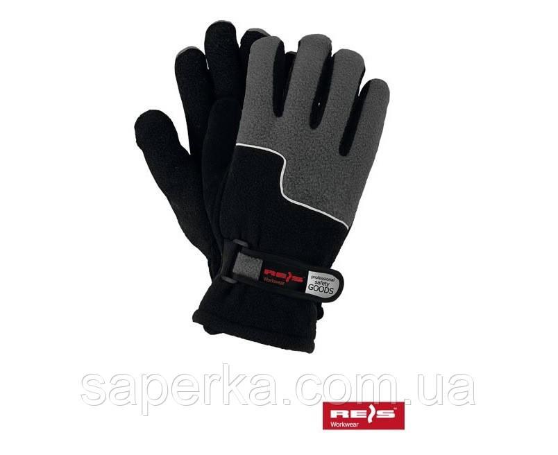 Зимові рукавички термо фліс сірі Reis (Польща)