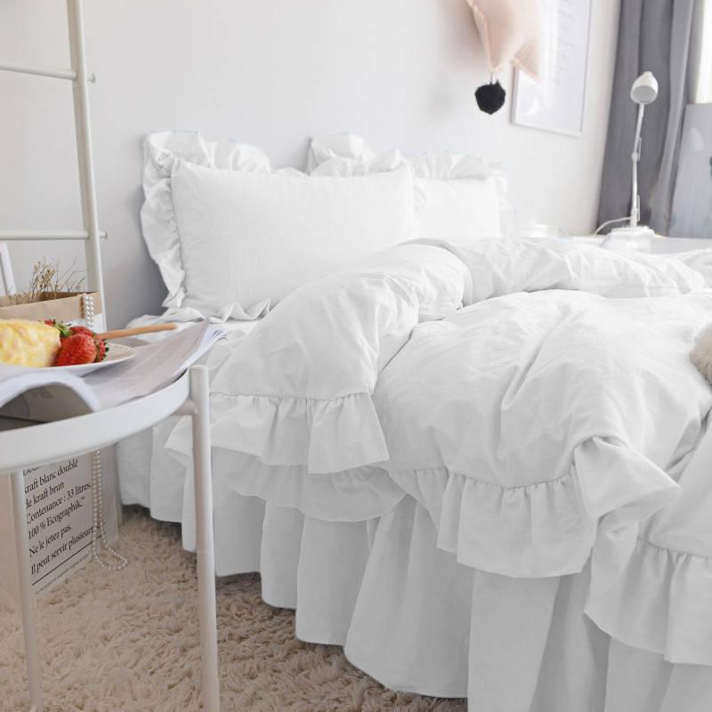 Комплект постельного белья С рюшей Сатин Премиум Белый