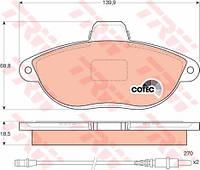 Колодки тормозные FIAT SCUDO, PEUGEOT 806 передние (TRW). GDB1216