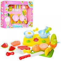 Продукты, (кухонный набор с продуктами) 666S-17-18 на липучке, плита, посуда, досточка, столовые приборы, 2вид