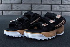 FILA Disruptor Sandals black\gold, Сандали Фила. ТОП Реплика ААА класса.