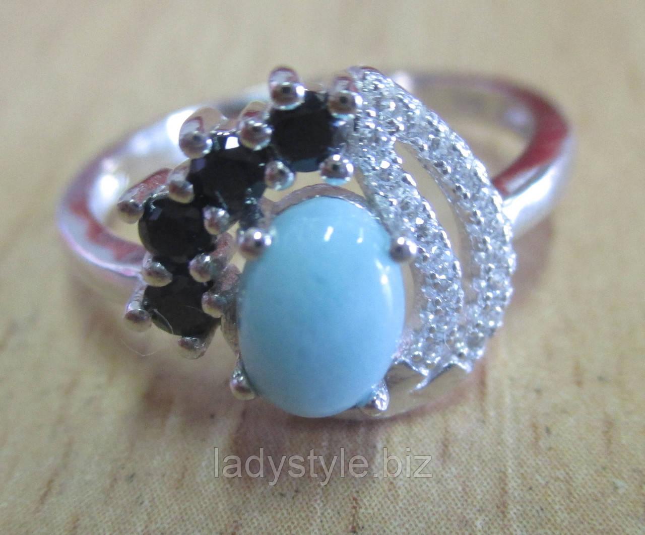 """Красивое кольцо с  ларимаром и черной шпинель """"Контраст"""", размер 18,9 от студии LadyStyle.Biz"""