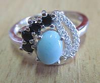 """Красивое кольцо с  ларимаром и черной шпинель """"Контраст"""", размер 18,9 от студии LadyStyle.Biz, фото 1"""