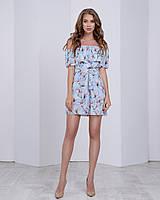 Летнее платье с двумя воланами «Трансформер» три варианта носки, с поясом яркий принт: белая магнолия голубой