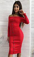 Платье женское Цвет красный Ткань трикотаж французский Сезон Осень 2016 Размеры 42, 44, 46 Длина 96 см