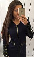 Платье женское Цвет темно-синий Ткань жаккард Сезон Осень 2016 Размеры 42-44, 44-46  , фото 1