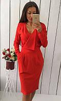 Платье женское Цвет Красный Ткань креп дайвинг Сезон Осень 2016 Размеры 42-44, 44-46  , фото 1