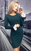 Платье женское Цвет изумрудный Ткань ангора Сезон Осень-Зима 2017 Размеры 42-44, 44-46