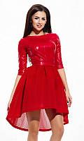Платье женское Цвет Красный Ткань неопрен Сезон Зима 2016 Размеры 42, 44, 46