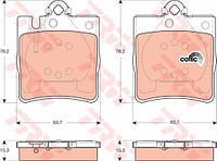 Колодки тормозные Mercedes C-CLASS (W203, S202), задние (TRW). GDB1421