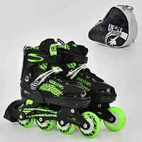 *Ролики Best Rollers зеленые арт. 5800 размер S 31-34/ колёса PU, переставные