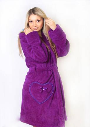 Женский махровый с поясом цвет фиолетовый размер 42-50, фото 2