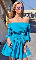 Платье женское Цвет темно-голубой Ткань коттон Сезон Лето 2017 Размеры 42-46 Длина 83 см
