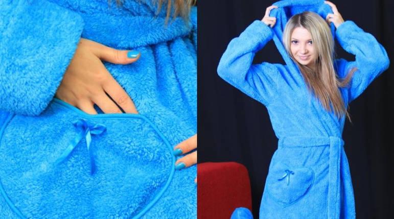 Женский махровый с капюшоном цвет синий размер 48-50, фото 2