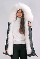 Парка Mr & Mrs Furs с мехом енота S Черно-белая