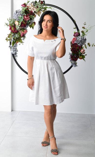 e105c015c5ae Белое летнее платье из льна (Размер двойной: 44-46, 48-50)