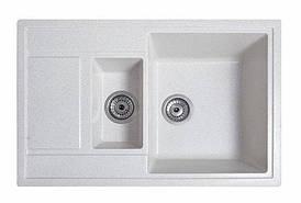 Кухонна мийка гранітна ПРАКТИК білий