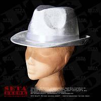 """Белая шляпа федора """"Челентанка"""" карнавальная на гангстерскую вечеринку."""