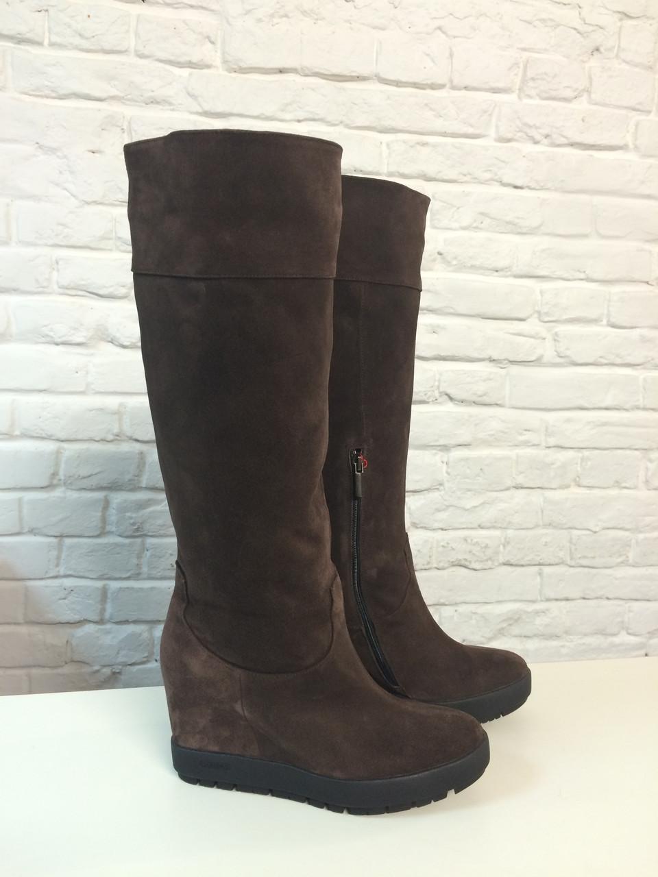 Сапоги с мехом Woman's heel 36 коричневые (О-608)