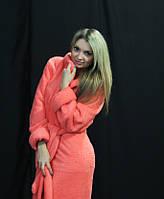 Женский махровый халат с капюшоном цвет каралловый размер 42-50