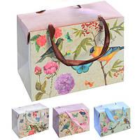 """Пакет-коробка бумажный подарочный """"Birds&Flowers"""" 23*16*11см 12шт/уп микс N00500 (480шт)"""