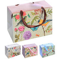 """Пакет-коробка бумажный подарочный """"Birds&Flowers"""" 18*12*9см 12шт/уп микс N00499 (600шт)"""