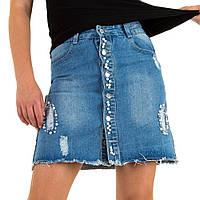 Джинсовая юбка на пуговицах с бусинами и лампасами Realty Jeans (Европа) Синий