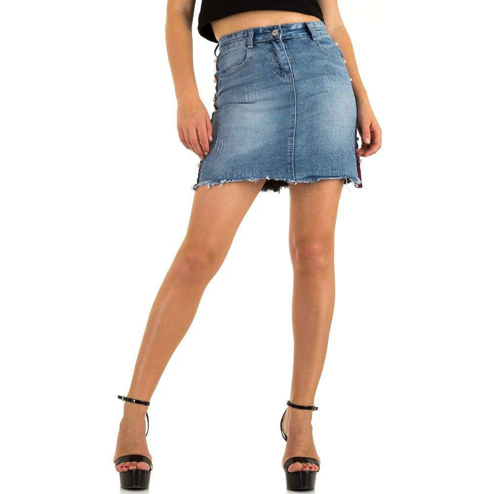 Джинсовая юбка с лампасами и рваной бахромой Realty Jeans (Европа) Синий