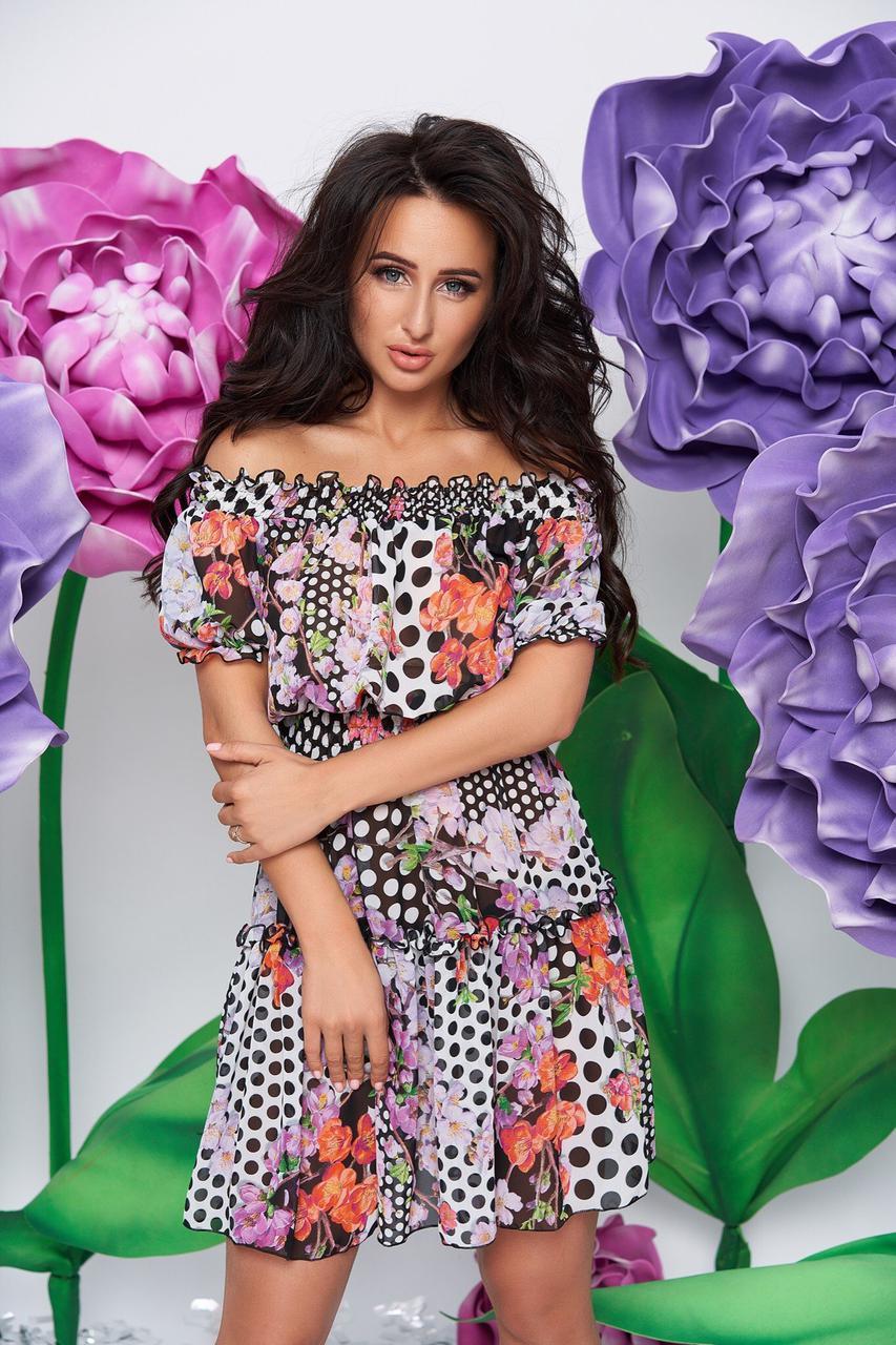 Платье тм Enneli короткое Размер S/М L/XL Ткань шифон , юбка на подкладке. (9048)